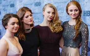 Картинка актрисы, Игра Престолов, Sophie Turner, Rose Leslie, Natalie Dormer, Maisie Williams