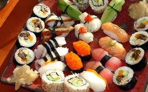 Картинка лосось, перец, зелень, сервировка, рис, морепродукты, россыпь, грибы, суши, Japan, японская кухня, имбирь, васаби, ломтики, ...