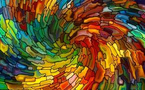 Картинка мозаика, абстракция, витраж, разноцветная