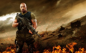 Картинка cinema, fire, flame, gun, weapon, man, movie, tatoo, The Rock, Dwayne Johnson, film, Roadblock, M249, …