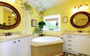Картинка зеркало, ванна, светильник, Design, Bathroom, Interior