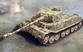 Картинка рисунок, арт, Tiger P, немецкий тяжёлый танк, zKpfw VI, Porsche Typ 101, Тигр Порше, VK4501 …