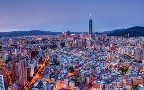 Картинка горы, China, дома, Китай, Тайвань, мегаполис, Taiwan, Taipei, панорама., cities, Тайпей, megapolis