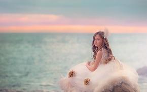 Картинка море, портрет, девочка
