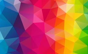 Обои полигоны, радуга, сочетания, треугольники, зелёный, жёлтый, оранжевый, геометрия, изгиб, синий, красный, грани, свет, линии, фиолетовый, ...