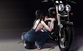 Обои мотоцикл, ремонтирует, ремонт, черные волосы