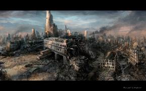 Обои дым, апокалипсис, руины