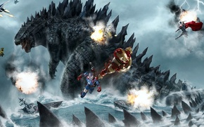 Картинка War Machine, battlefield, submarine, chris hemsworth, spark, Avengers, flame, war aircraft, Godzilla vs Avengers, Tony ...