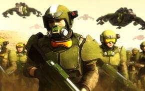 Картинка рендеринг, фантастика, арт, солдаты, шлем, броня, 000, Warhammer 40, Warhammer 40K, Imperial Guard