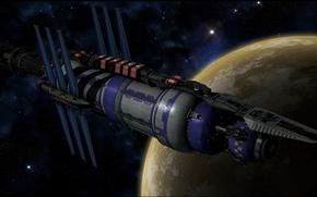 Картинка space, stars, spaceship, planet, babylon, Вавилон - 5