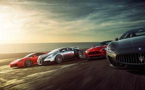 Картинка Ferrari F430, Bugatti Veyron, Speed, Sunset, Supercars, Sea, Aston Martin Vantage, Maserati Grant Turismo