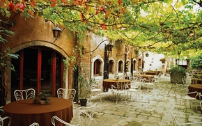 Обои кафе, Италия, листья