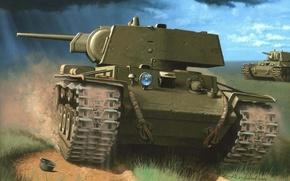 Картинка танк, просто, тяжелый, советский, КВ-1, Клим Ворошилов, называется, Обычно, КВ., времён Второй мировой войны