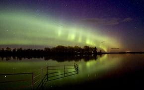Картинка звезды, пейзаж, отражение, северное сияние