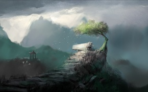 Картинка кривое, дерево, горы, арт, беседка, скалы