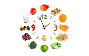 Обои стакан, ягоды, креатив, стрелки, часы, апельсин, рыба, молоко, цифры, виноград, белый фон, лайм, груша, перец, ...