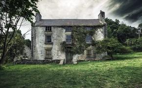 Картинка поле, дом, архитектура