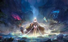 Картинка девушка, природа, магия, волшебник, League of legends, Janna, Storm's Fury