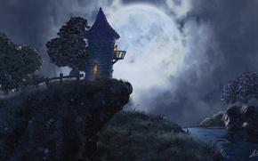 Картинка деревья, ночь, луна, Башня, речка