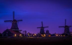 Картинка ночь, дома, деревня, Нидерланды, ветряная мельница, Заансе Сханс