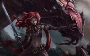Картинка дракон, меч, арт, Fantasy, воительница, Warrior, Women, dragon