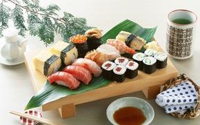 Обои еда, рыба, сыр, рис, икра, суши