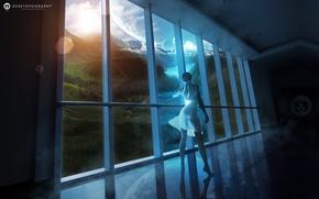 Обои планеты, окно, window, girl, Fantasy world, вид, девушка, фэнтези мир, облака, пейзаж, река, платье