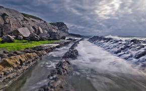 Картинка море, волны, небо, скалы