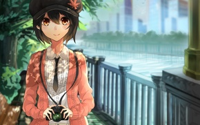 Картинка девушка, деревья, река, улица, забор, арт, кепка, touhou, фотокамера, shameimaru aya, akira
