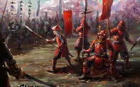 Картинка оружие, азия, арт, войско, знамя, армия, меч, катана, броня, копье, самураи