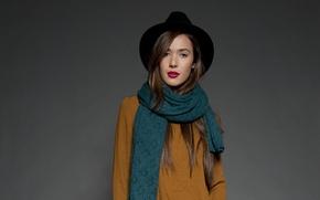Картинка девушка, шарф, родинка, шатенка, шляпка