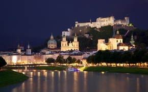 Картинка river, пристань, город, огни, собор, Austria, Зальцах, Salzach, ночь, chapels, castle, houses, река, сity, Salzburg, ...