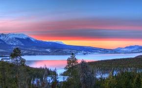 Обои озеро, зима, закат