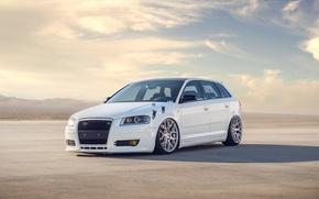 Картинка белый, небо, облака, Audi, ауди, white, tuning