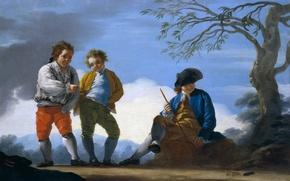 Картинка дерево, картина, шляпа, жанровая, Jose del Castillo, Мальчики Играют Метают Монеты в Цель