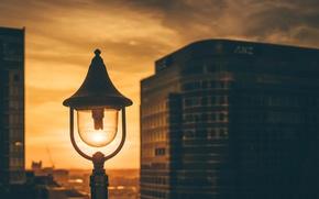 Картинка light, twilight, sunset, dusk, lamp, cityscape
