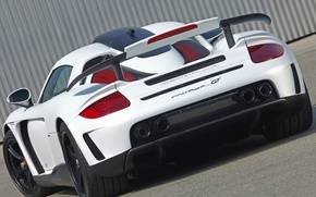 Картинка белый, тюнинг, Porsche, суперкар, спойлер, порше, вид сзади, Carrera GT, tuning, антикрыло, гембала, mirage gt, …