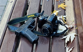 Картинка пистолет, фон, камера