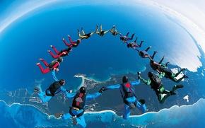 Картинка полет, прыжок, Земля, парашютный спорт