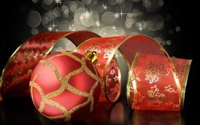 Картинка красный, фон, узор, черный, игрушки, шар, Новый Год, Рождество, лента, золотой, Christmas, праздники, New Year, …
