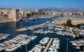 Картинка Франция, дома, лодки, катера, набережная, причалы, Marseille