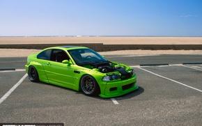 Картинка пляж, океан, BMW, California, E46, Rocket Bunny, M3, shade green