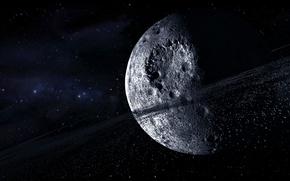 Картинка космос, звезды, планета, астероиды, кольцо, кратеры, multi monitors