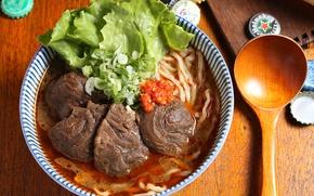 Обои ложка, суп, мясо, салат, лапша
