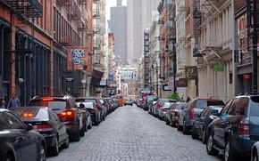 Картинка машины, улица, здания, New York City, Mercer Street, SOHO