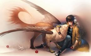 Картинка зверьки, арт, парень, sakimichan, грифон, наушники, яблоки
