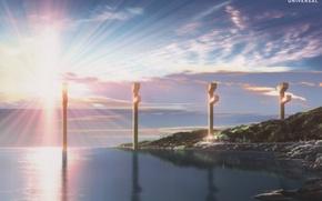 Картинка море, рассвет, берег, столбы, штиль, лучи солнца, восход солнца, голубое небо, Nagi no Asukara, Когда …
