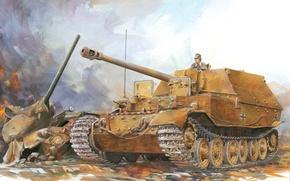 Картинка арт, установка, Вторая мировая война, элефант, Sd.Kfz.184, самоходно-артиллерийская, немецкая, Еlefant