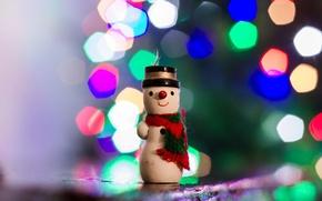 Картинка фон, игрушка, снеговик