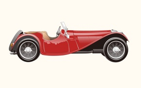 Картинка ретро, Jaguar, вектор, 1937, SS100
